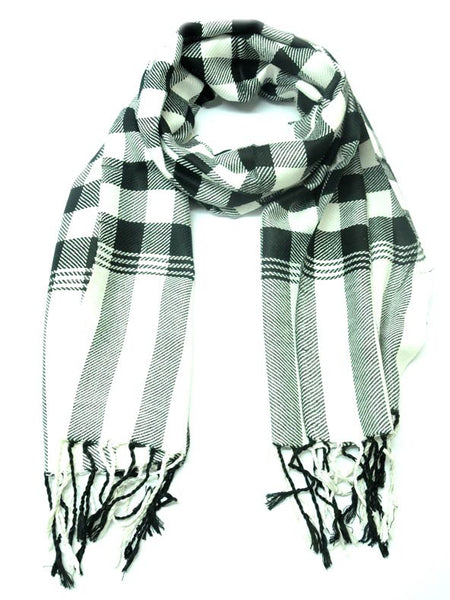 Black And White Check Viscose Stole - CFMS21MH7