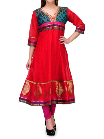 Chanderi Cotton Kurti From Banaras In Red - RB-BPBUK29MH57