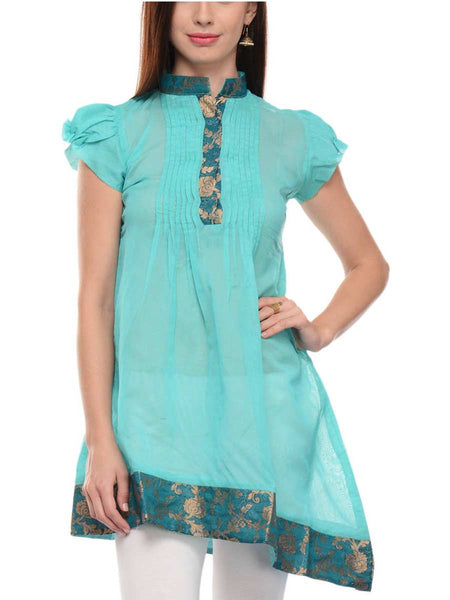 Chanderi Cotton Indo Western Kurti In Sky Blue - RB-BPBUK14JL6
