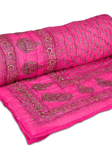 Set Of 2 Single Bed Jaipuri Cotton Quilt In Pink-EC-DRJQ16D4