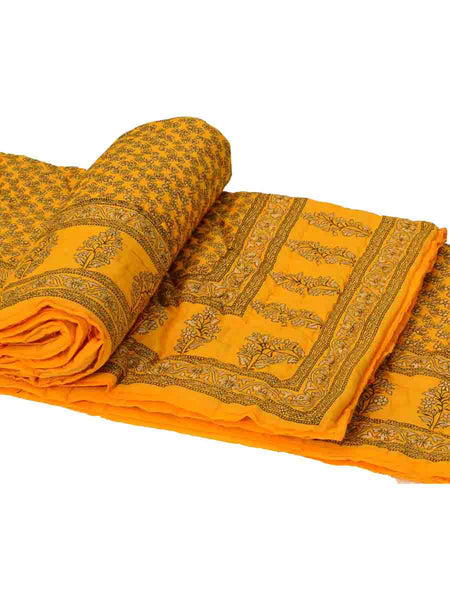 Set Of 2 Single Bed Jaipuri Cotton Quilt In Yellow-EC-DRJQ16D6