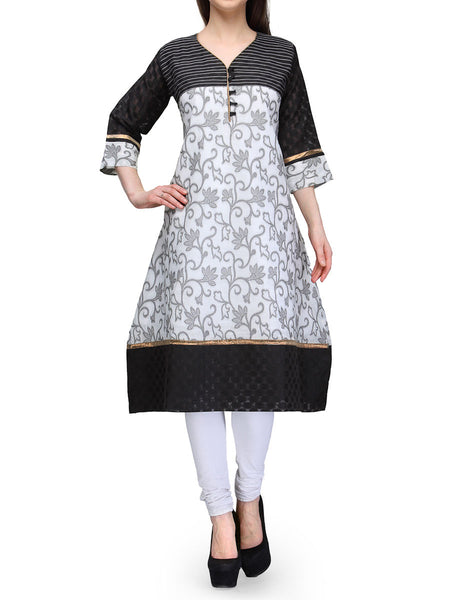 Chanderi Cotton Kurti From Banaras In White - RB-BPBUK29MH40