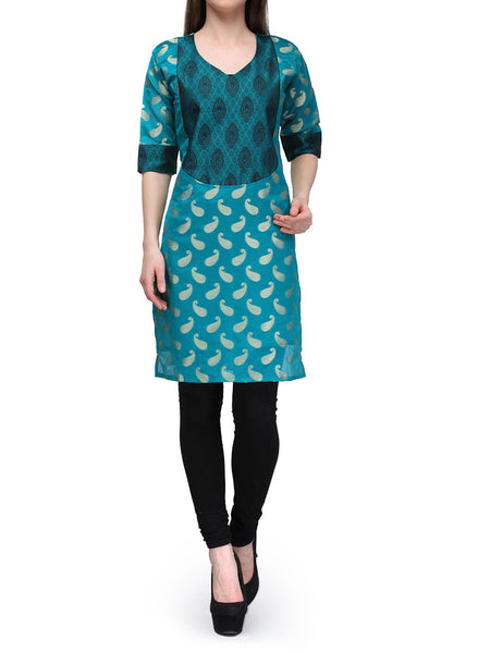 Chanderi Cotton Kurti From Banaras In Green - RB-BPBUK29MH11