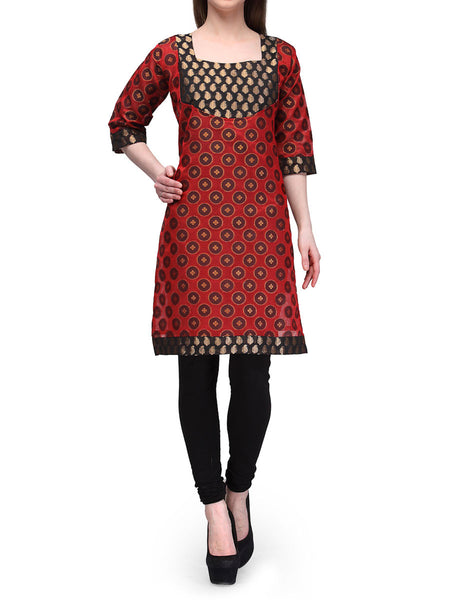 Chanderi Cotton Kurti From Banaras In Maroon - RB-BPBUK29MH27