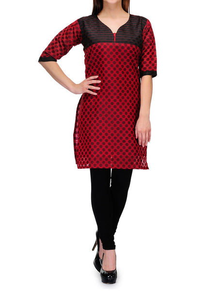 Chanderi Cotton Kurti From Banaras In Red - RB-BPBUK29MH48