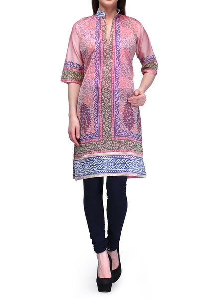 Chanderi Cotton Kurti From Banaras In Pink - RB-BPBUK29MH13