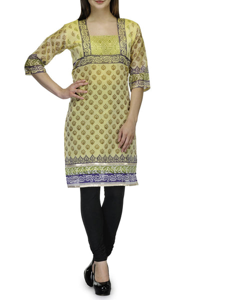 Supernet Banarasi Anarkali Kurti In Yellow - RB-BPBUK20JL5