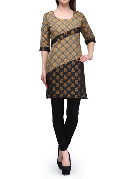 Chanderi Cotton Kurti From Banaras In Beige - RB-BPBUK29MH9
