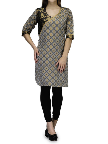 Chanderi Cotton Kurti From Banaras In Beige - RB-BPBUK29MH17