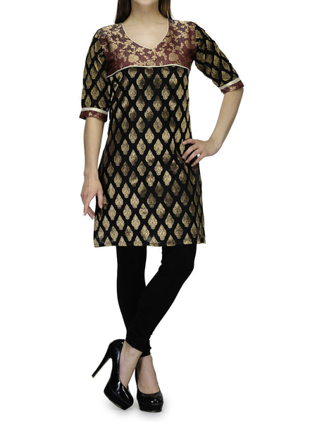 Chanderi Cotton Kurti From Banaras In Black - RB-BPBUK29MH37