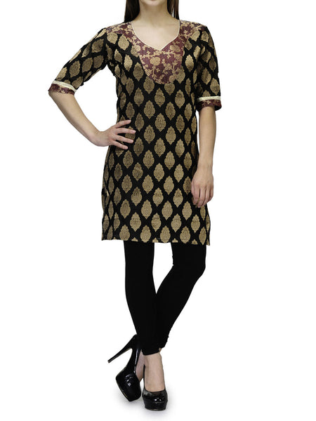 Chanderi Cotton Kurti From Banaras In Black - RB-BPBUK29MH36