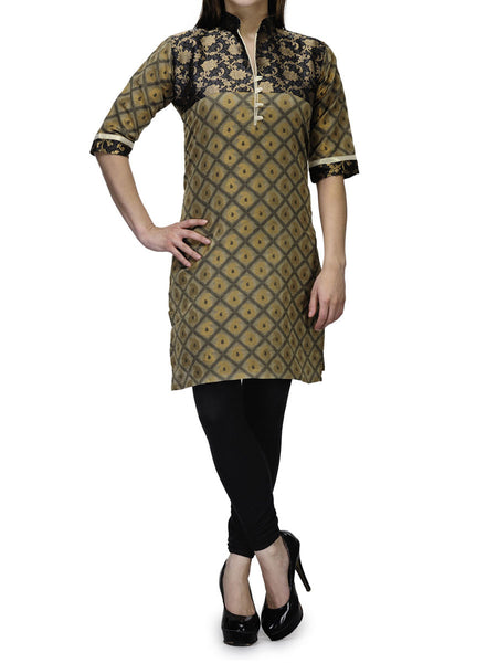 Chanderi Cotton Kurti From Banaras In Beige - RB-BPBUK29MH33