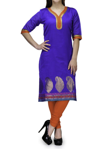 Chanderi Cotton Kurti From Banaras In Blue - RB-BPBUK29MH22