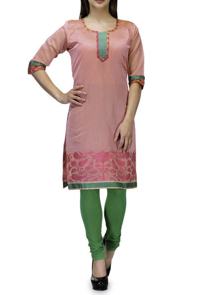 Chanderi Cotton Banarasi Anarkali Kurti In Pink - RB-BPBUK20JL19