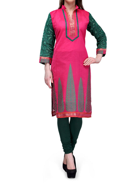 Chanderi Cotton Kurti From Banaras In Pink - RB-BPBUK29MH28