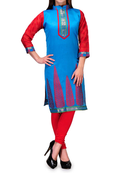 Chanderi Cotton Kurti From Banaras In Skyblue - RB-BPBUK29MH29