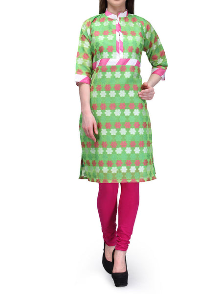 Chanderi Cotton Kurti From Banaras In Green - RB-BPBUK29MH1