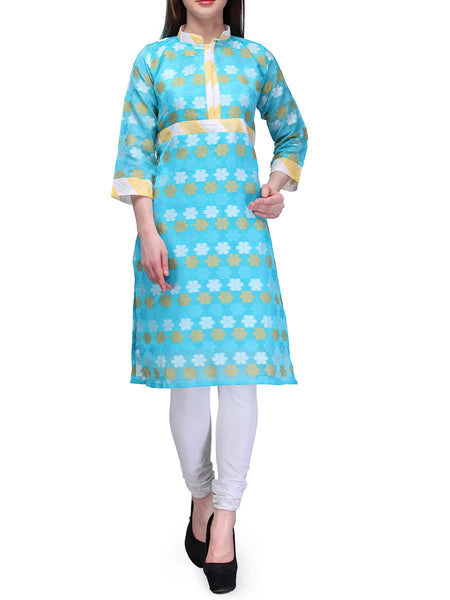 Chanderi Cotton Banarasi Anarkali Kurti In Sky Blue - RB-BPBUK20JL26