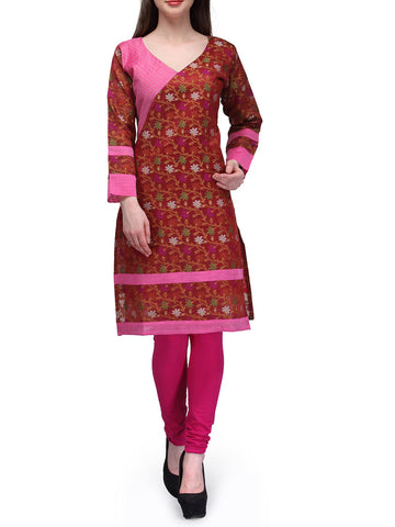 Chanderi Cotton Banarasi Anarkali Kurti In Rust - RB-BPBUK20JL29