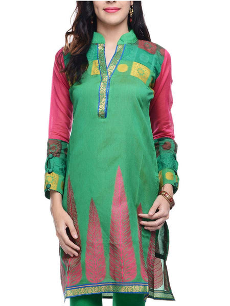 Chanderi Cotton Kurti In Green - RB-BPBUK14JL31