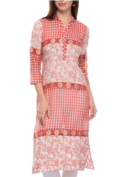 Cotton Emblished Banarasi Long Kurti In Red & White - RB-BPBUK14JL34