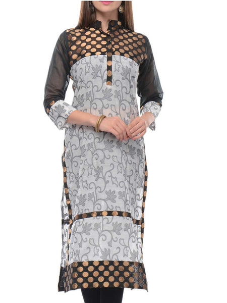 Cotton Emblished Banarasi Long Kurti In Black & White - RB-BPBUK14JL62