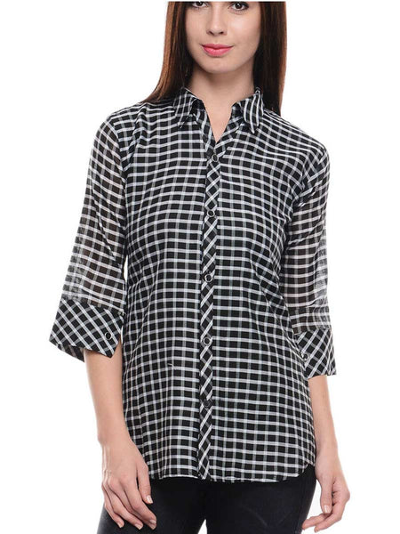 Chanderi Cotton Check Tunic In Black - RB-BPBUK14JL11