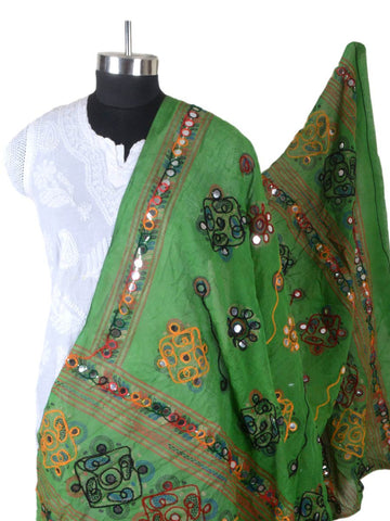 Green Cotton Kutch Embroidery Dupatta (Hand Work) - CKGD30MH36