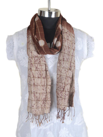 Cotton Silk Stole From Gujarat In White & Brown - CKGDC16MH2