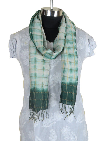 Cotton Silk Stole From Gujarat In White & Green - CKGDC16MH5