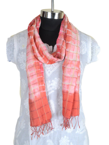Cotton Silk Stole From Gujarat In White & Pink - CKGDC16MH6