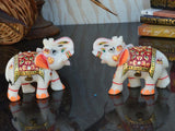 Set Of 2 Marble Elephant Statue In Red-EC-HJRME23FB25