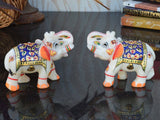 Set Of 2 Marble Elephant Statue In Blue-EC-HJRME23FB26