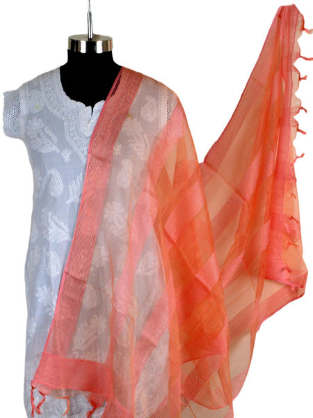 Organza Dupatta From Madhya Pradesh In Orange - CMPD5AP2