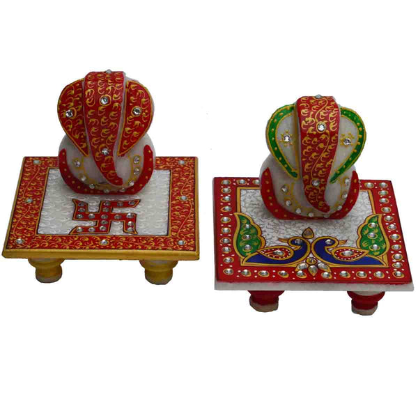 Marble Set Of Two Chowki Of Lord Ganesha-EC-HJRME5MY54