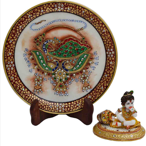 Marble Combo Of Laddu Gopal & Decorative Plate-EC-HJRME5MY68