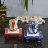 Marble Set Of Ridhi Sidhi Ganesha Chowkis In Red & Blue-EC-HJRME5MY71
