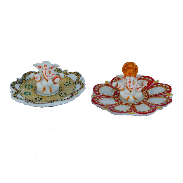 Set of 2 Lord Ganesha sitting on Marble Plate - EC-HJRMM3AG14