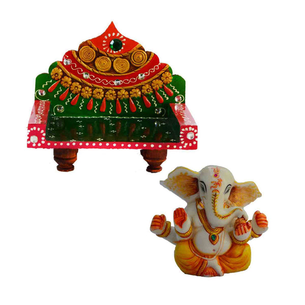 Combo of Royal Throne for Mandir(Temple) and Lord Ganpati - EC-HJRPMSF3AG20