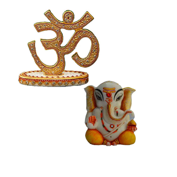 Combo of Lord Ganpati Statue and Crafted Om Show Piece - EC-HJRSRMM3AG21