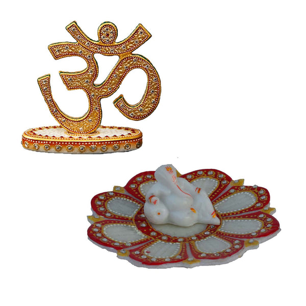 Combo of Om Show Piece and Lord Ganesha on Marble Lotus Plate - EC-HJRMM3AG38