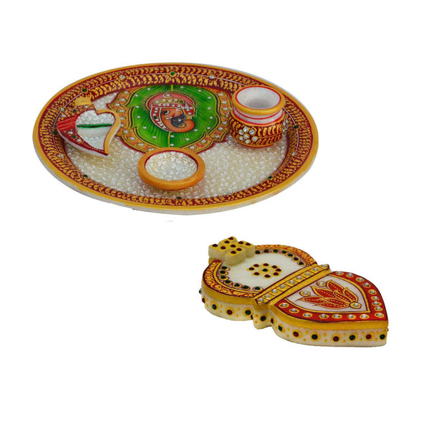 Combo of Marble Chopra and Pooja Thali - EC-HJRMM3AG55