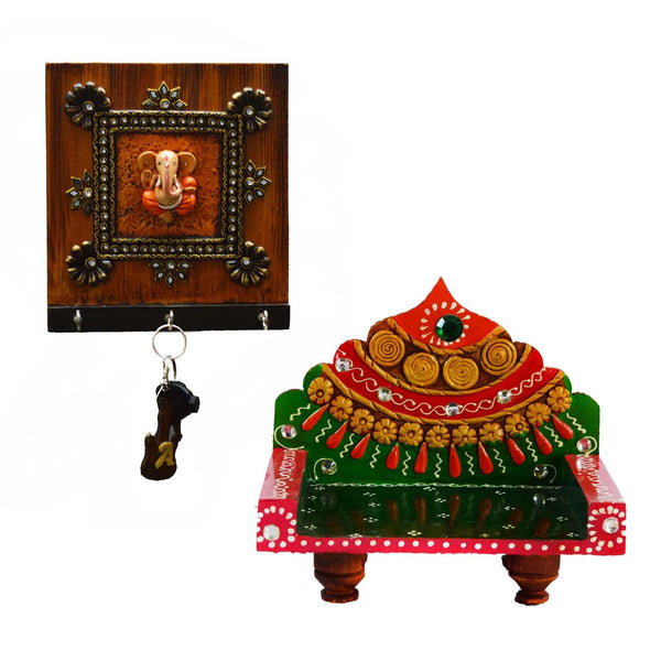 Combo of Lord Ganesha Key Holder and Royal Throne for Mandir(Temple) - EC-KKPMB3AG63