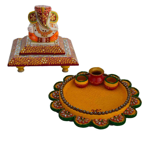 Combo of Pooja Thali and Lord Ganesha Chowki - EC-HJRWD3AG66