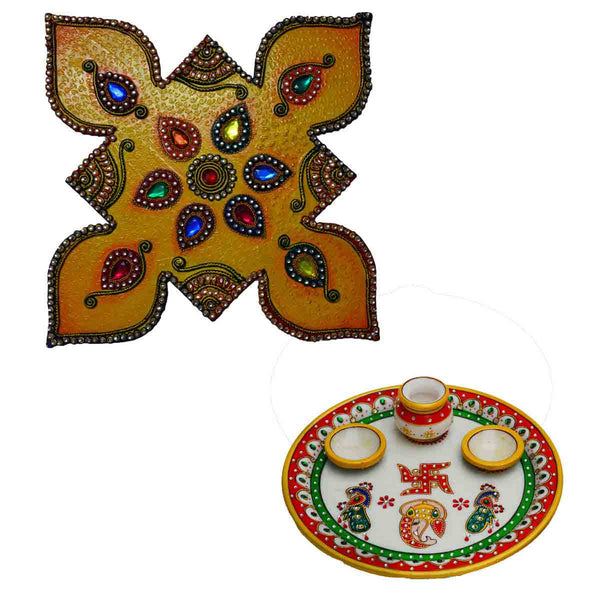 Combo of Colorful Floor Rangoli and Lord Ganesha Pooja Thali - EC-HJRWD3AG80