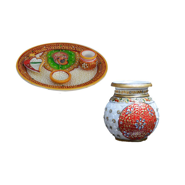 Combo of Marble Kalash and Pooja Thali - EC-HJRMM3AG90