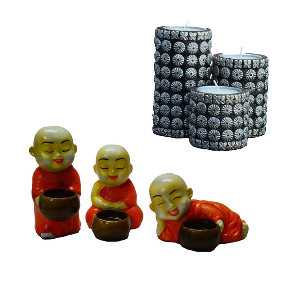 Combo of Cylindrical Candle Stand(Set of 3) and Set of 3 Monks Candle Holder - EC-HJRWSF3AG92