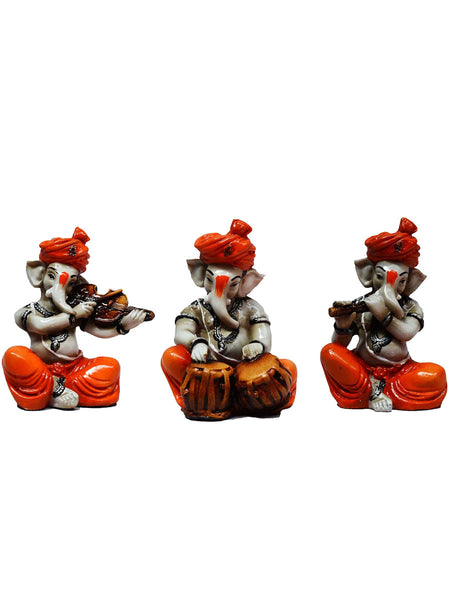 Polyresin Set Of 3 Ganesha Playing Violen -EC-KKPMB23FB42