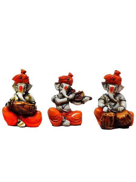 Polyresin Set Of 3 Ganesha Playing Dholak -EC-KKPMB23FB43