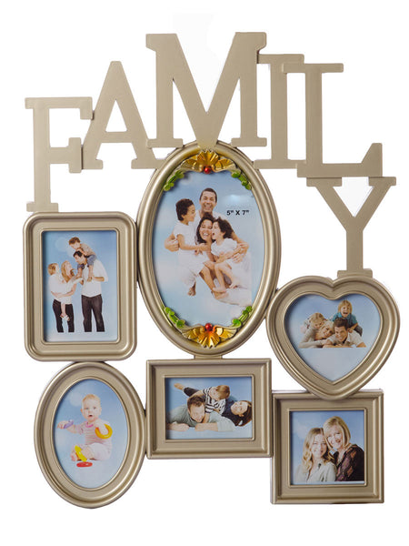 Heart Shape Family Collage Metallic Photo Frame for 6 photos - EC-HJRME24MA195